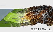 Physical Panoramic Map of Taizhong, darken
