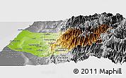 Physical Panoramic Map of Taizhong, desaturated