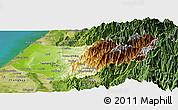 Physical Panoramic Map of Taizhong, satellite outside