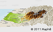 Physical Panoramic Map of Taizhong, shaded relief outside
