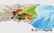 Physical Panoramic Map of Yilan, shaded relief outside