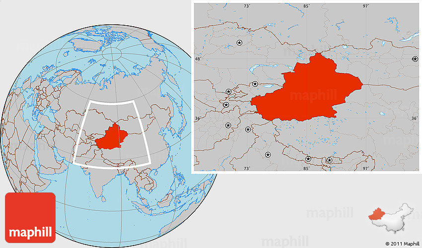 Map Xinjiang.Gray Location Map Of Xinjiang Uygur