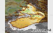 Physical Map of Xinjiang Uygur, darken