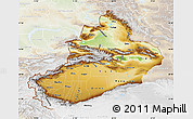 Physical Map of Xinjiang Uygur, lighten