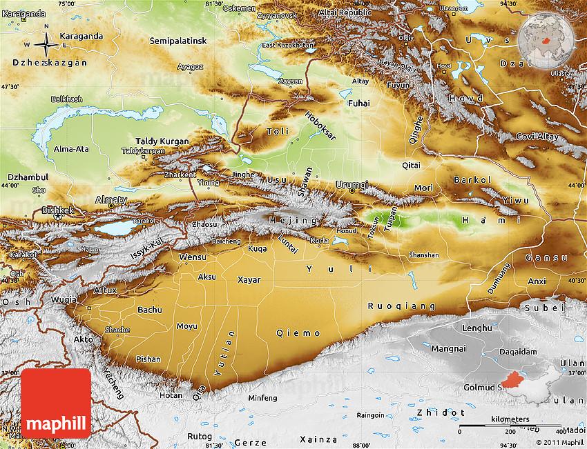 Map Xinjiang.Physical Map Of Xinjiang Uygur