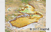 Physical Map of Xinjiang Uygur, satellite outside