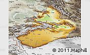 Physical Map of Xinjiang Uygur, semi-desaturated