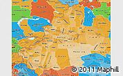 Political Shades Map of Xinjiang Uygur