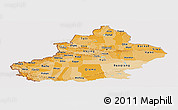 Political Shades Panoramic Map of Xinjiang Uygur, cropped outside