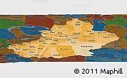 Political Shades Panoramic Map of Xinjiang Uygur, darken