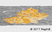 Political Shades Panoramic Map of Xinjiang Uygur, desaturated