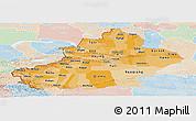 Political Shades Panoramic Map of Xinjiang Uygur, lighten