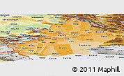 Political Shades Panoramic Map of Xinjiang Uygur, physical outside
