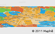 Political Shades Panoramic Map of Xinjiang Uygur