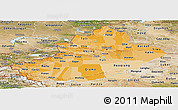 Political Shades Panoramic Map of Xinjiang Uygur, satellite outside