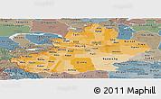 Political Shades Panoramic Map of Xinjiang Uygur, semi-desaturated