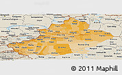 Political Shades Panoramic Map of Xinjiang Uygur, shaded relief outside