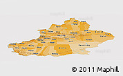 Political Shades Panoramic Map of Xinjiang Uygur, single color outside