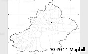 Blank Simple Map of Xinjiang Uygur, cropped outside, no labels