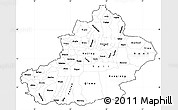 Blank Simple Map of Xinjiang Uygur, cropped outside