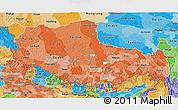 Political Shades 3D Map of Xizang Zizhiqu (Tibet)