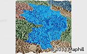 Political Panoramic Map of Baxoi, semi-desaturated