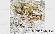 Satellite Panoramic Map of Baxoi, lighten