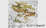 Satellite Panoramic Map of Baxoi, physical outside