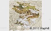 Satellite Panoramic Map of Baxoi, shaded relief outside