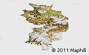 Satellite Panoramic Map of Baxoi, single color outside