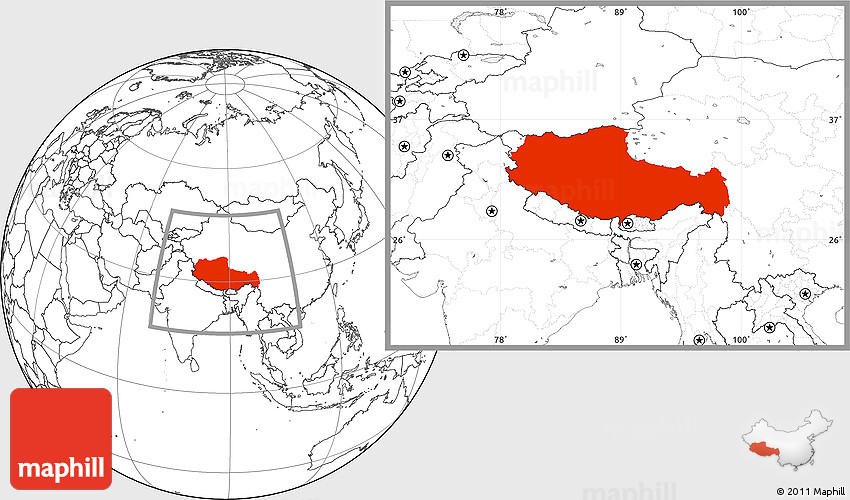 Tibet Location On World Map.Blank Location Map Of Xizang Zizhiqu Tibet
