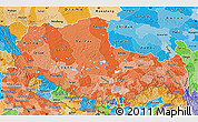 Political Shades Map of Xizang Zizhiqu (Tibet)