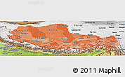 Political Shades Panoramic Map of Xizang Zizhiqu (Tibet), physical outside