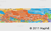 Political Shades Panoramic Map of Xizang Zizhiqu (Tibet)