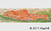 Political Shades Panoramic Map of Xizang Zizhiqu (Tibet), satellite outside