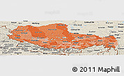 Political Shades Panoramic Map of Xizang Zizhiqu (Tibet), shaded relief outside