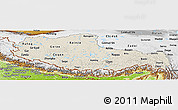 Shaded Relief Panoramic Map of Xizang Zizhiqu (Tibet), physical outside