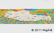 Shaded Relief Panoramic Map of Xizang Zizhiqu (Tibet), political outside