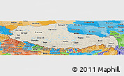 Shaded Relief Panoramic Map of Xizang Zizhiqu (Tibet), political shades outside