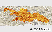 Political Panoramic Map of Zayu, shaded relief outside