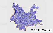 Political Shades 3D Map of Yunnan, cropped outside