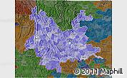 Political Shades 3D Map of Yunnan, darken