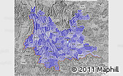 Political Shades 3D Map of Yunnan, desaturated