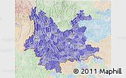 Political Shades 3D Map of Yunnan, lighten
