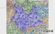 Political Shades 3D Map of Yunnan, semi-desaturated