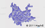 Political Shades 3D Map of Yunnan, single color outside