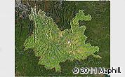 Satellite 3D Map of Yunnan, darken