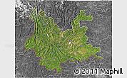 Satellite 3D Map of Yunnan, desaturated