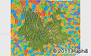 Satellite 3D Map of Yunnan, political outside