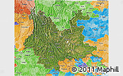 Satellite 3D Map of Yunnan, political shades outside